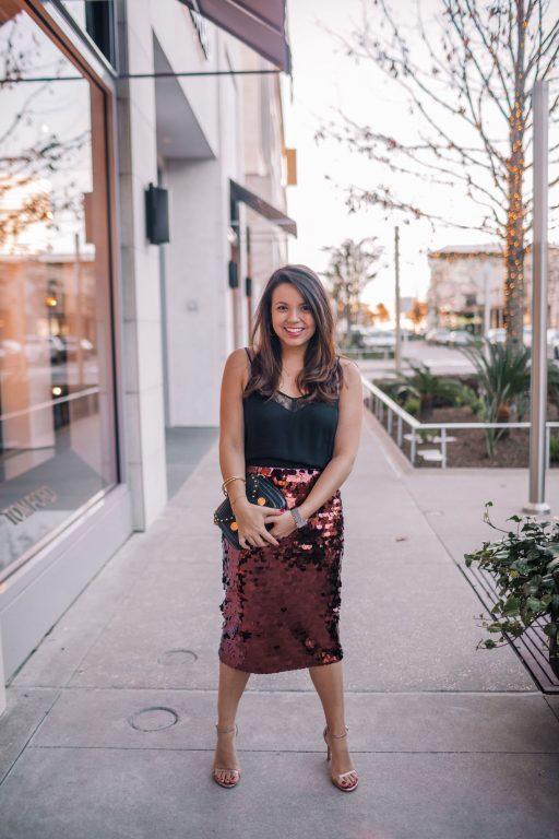 sequin midi skirt outfit idea