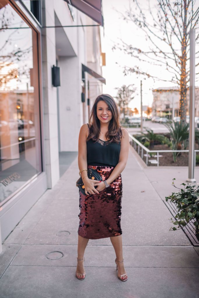 sequin midi skirt outfit idea