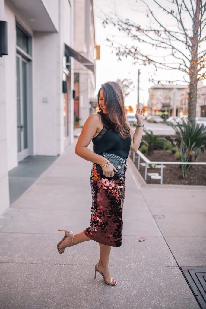 NYE outfit ideas, sequin midi skirt