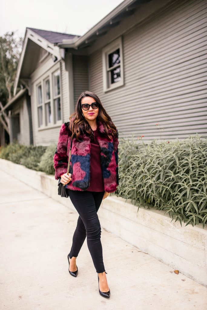 Faux fur jacket for winter outfits