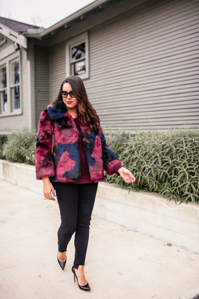 faux fur multi-color jacket winter outfit