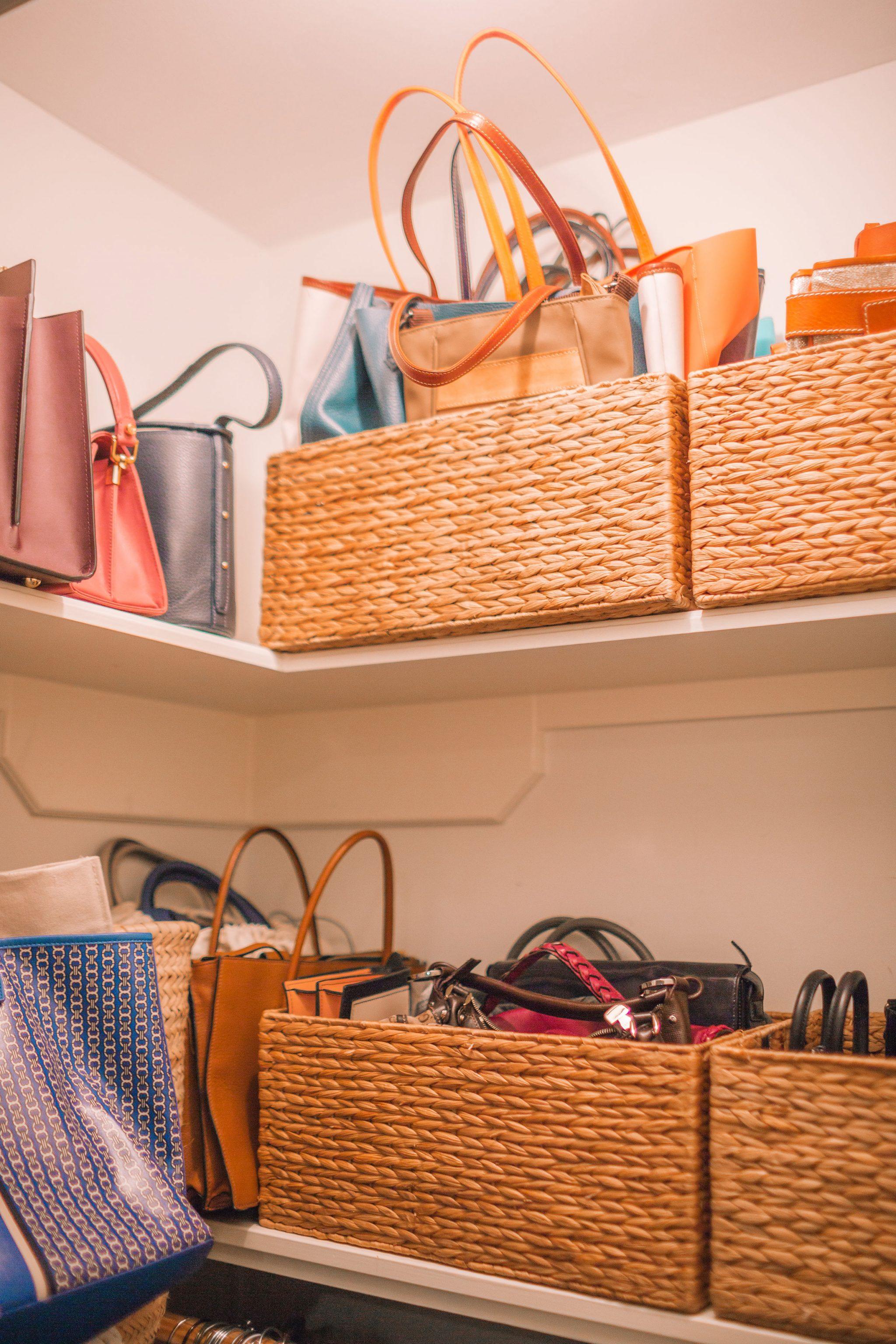 Jute baskets for handbag organization