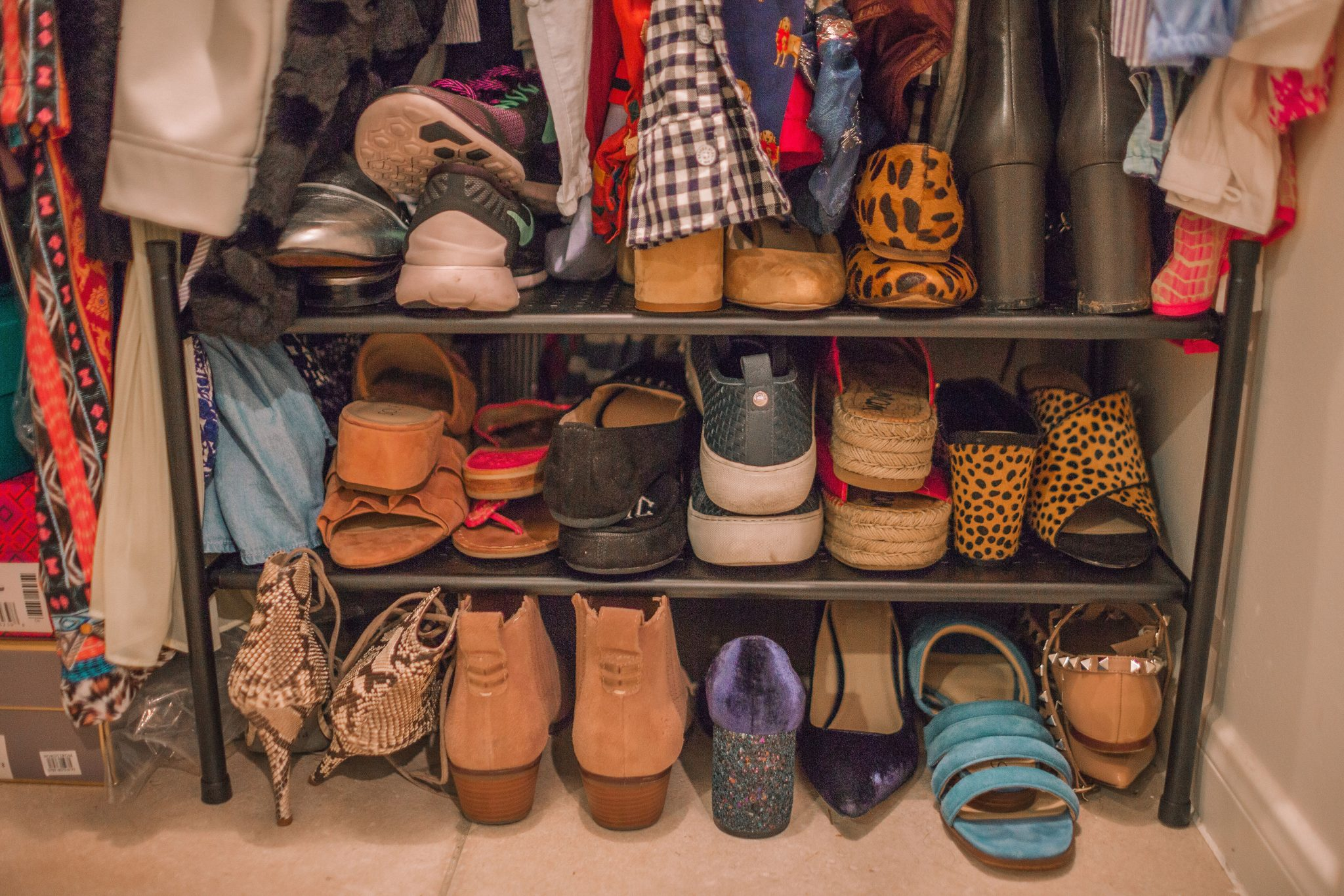 Shoe organization in a small closet