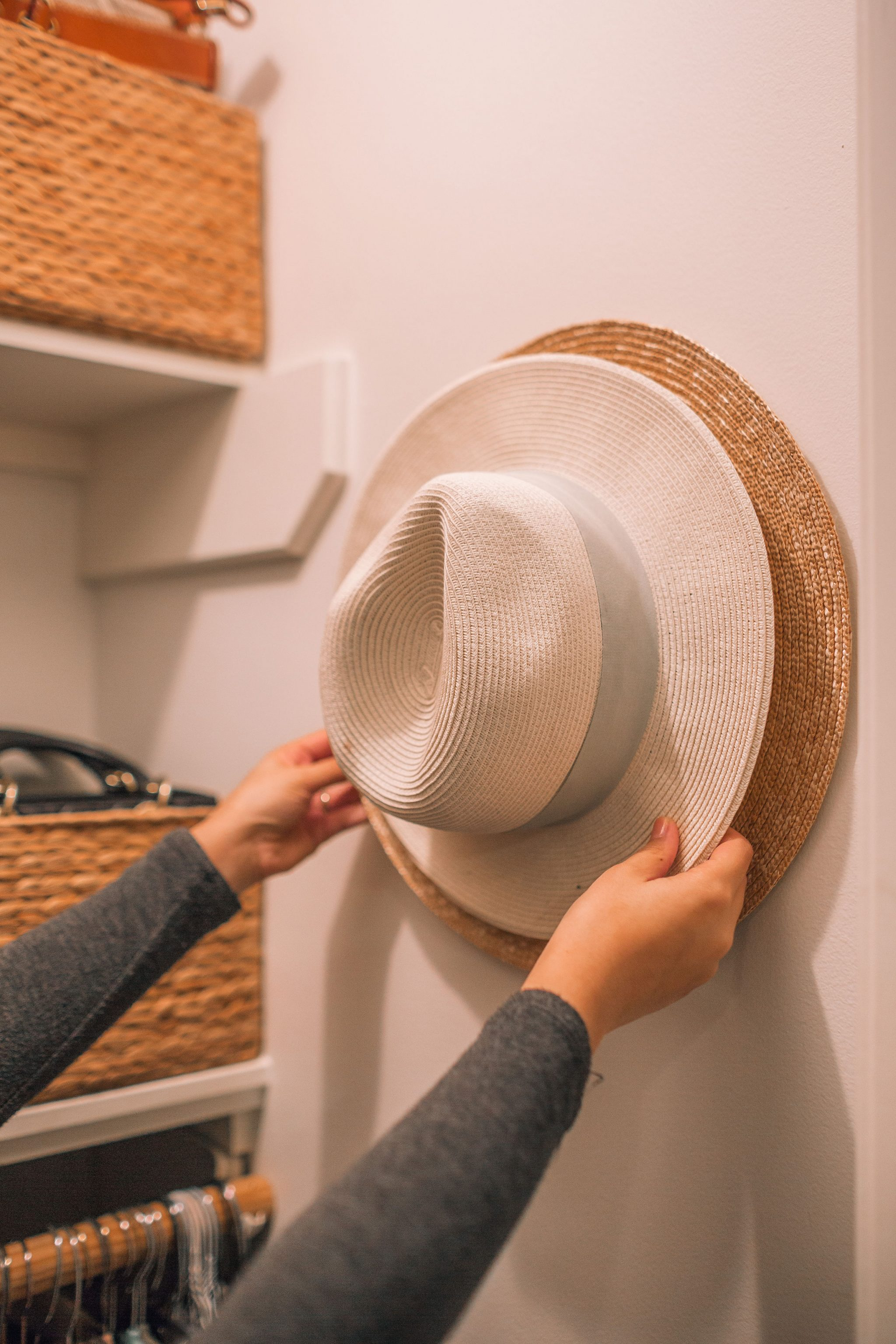 how to organize hats in a small closet   Adored by Alex