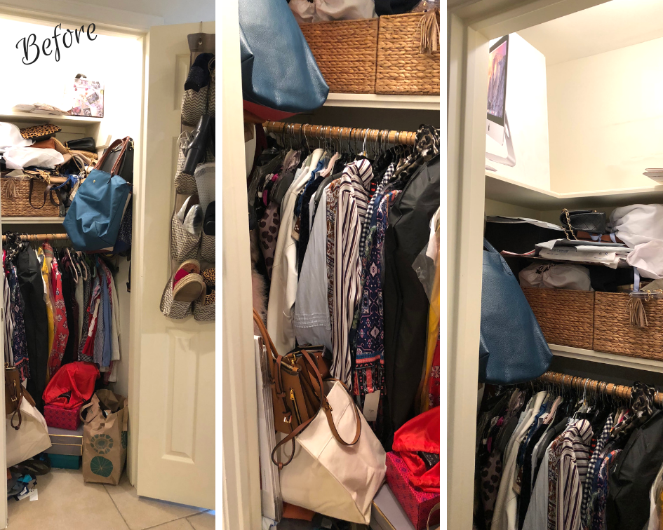 Unorganized closet before and after   Adored by Alex