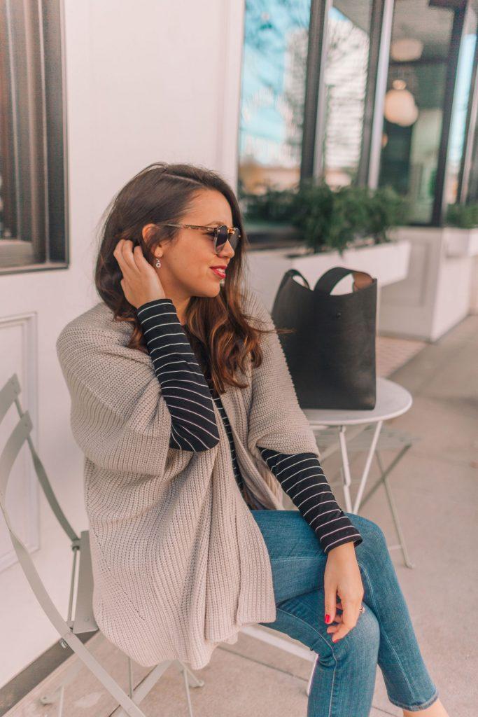 Metallic Kimono knit sweater   Adored by Alex
