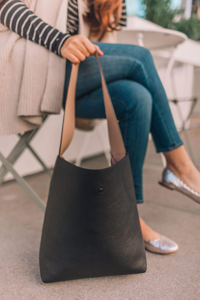 Cuyana leather shoulder bag, classic hobo bags