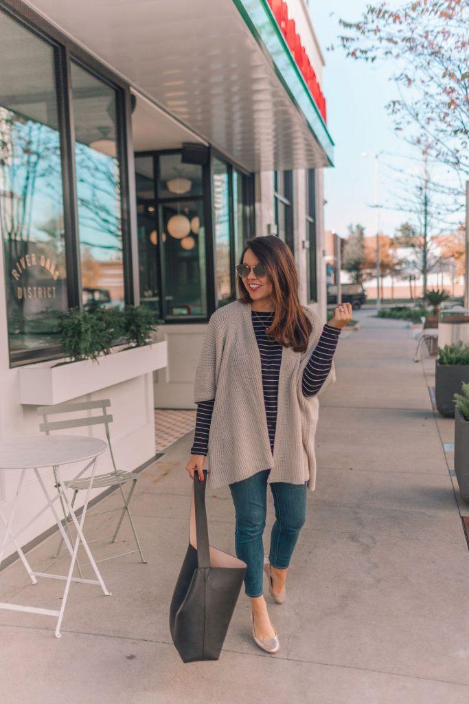 metallic knit kimono sweater