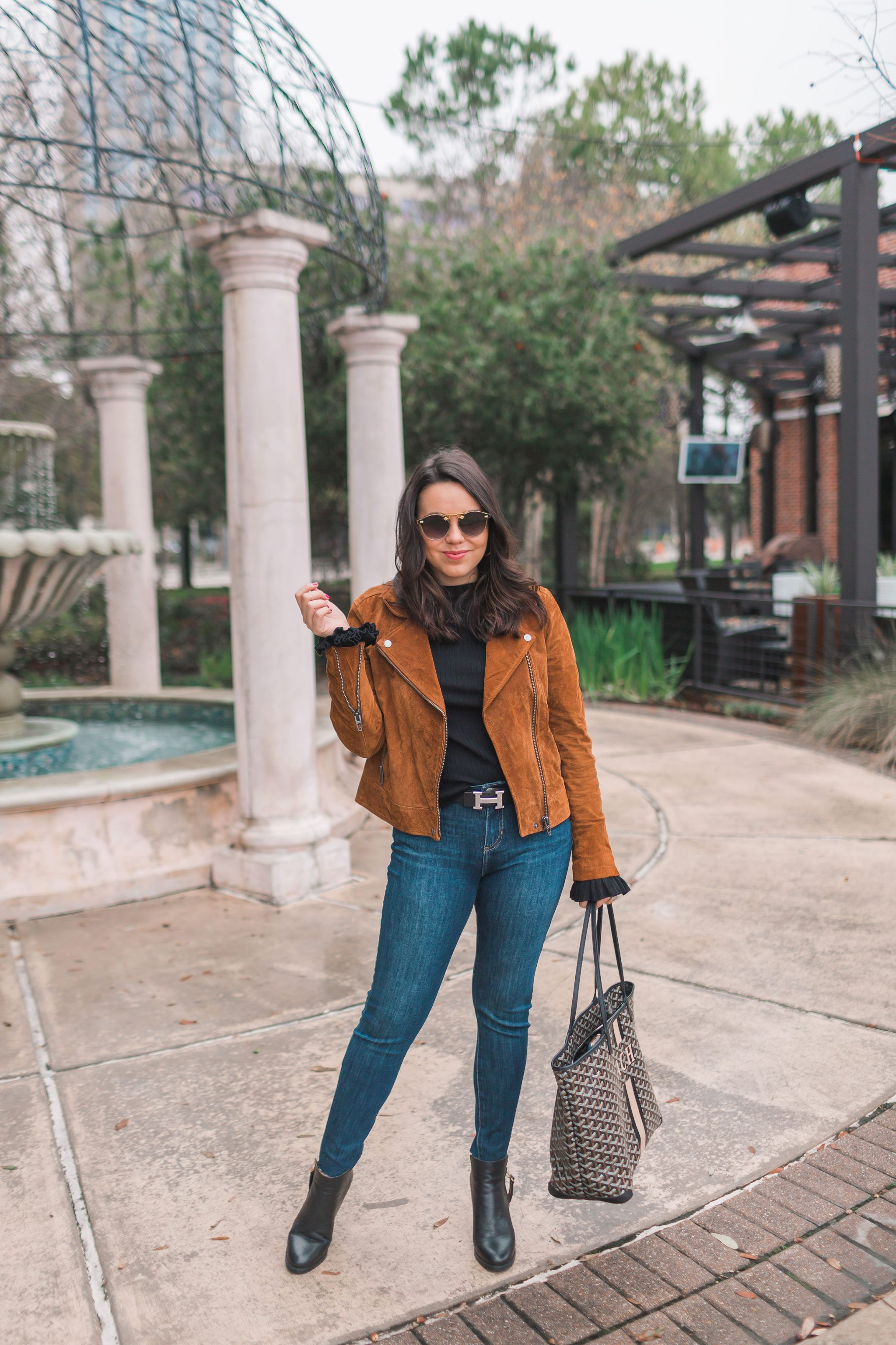 budget-friendly suede moto jacket, winter style