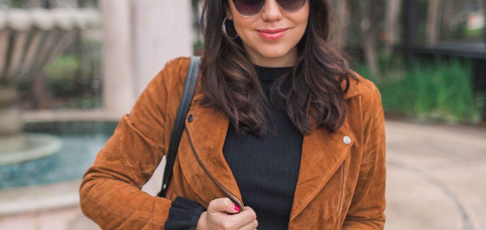 BlankNYC suede moto jacket outfit