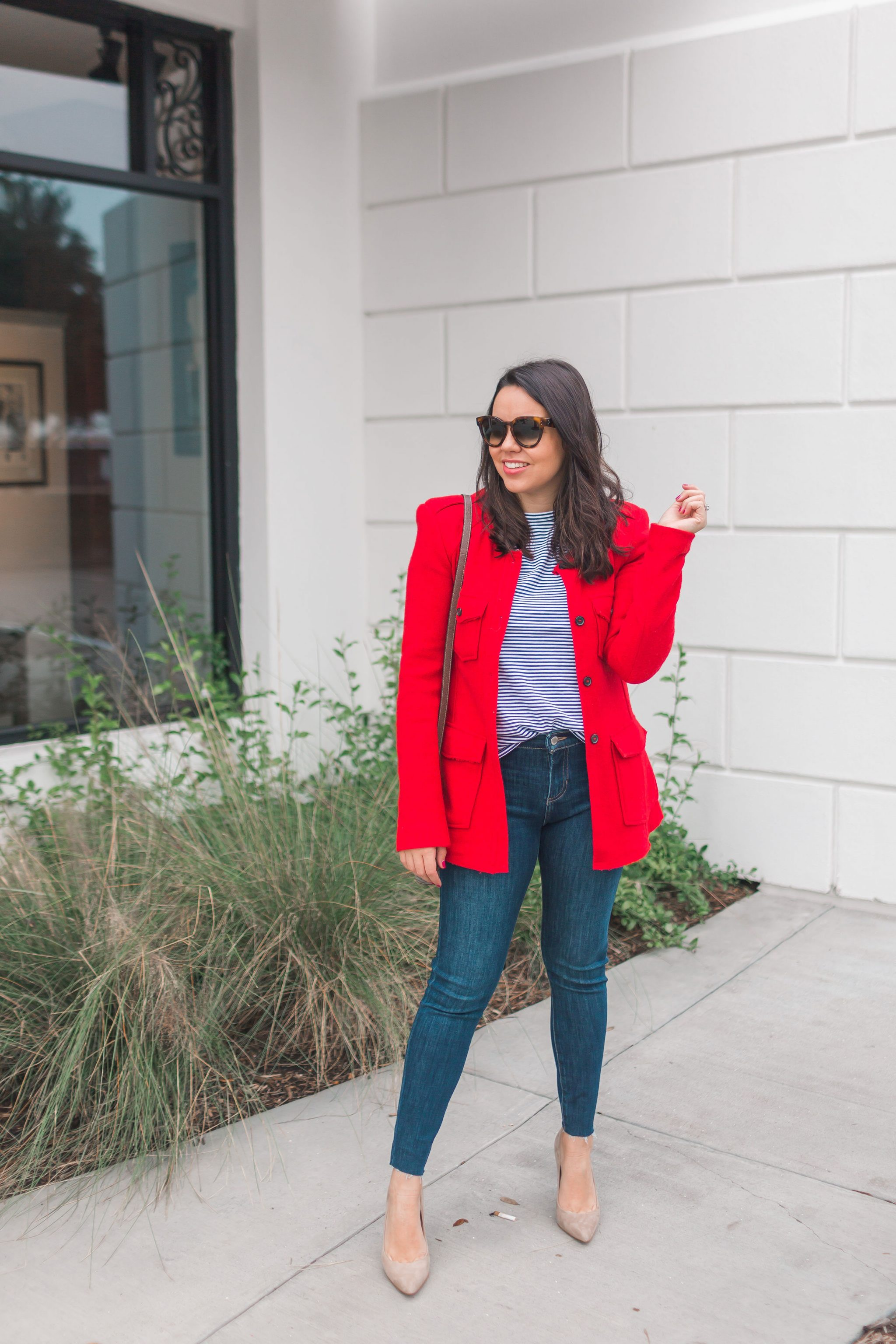 Red wool blazer for Valentine's Day