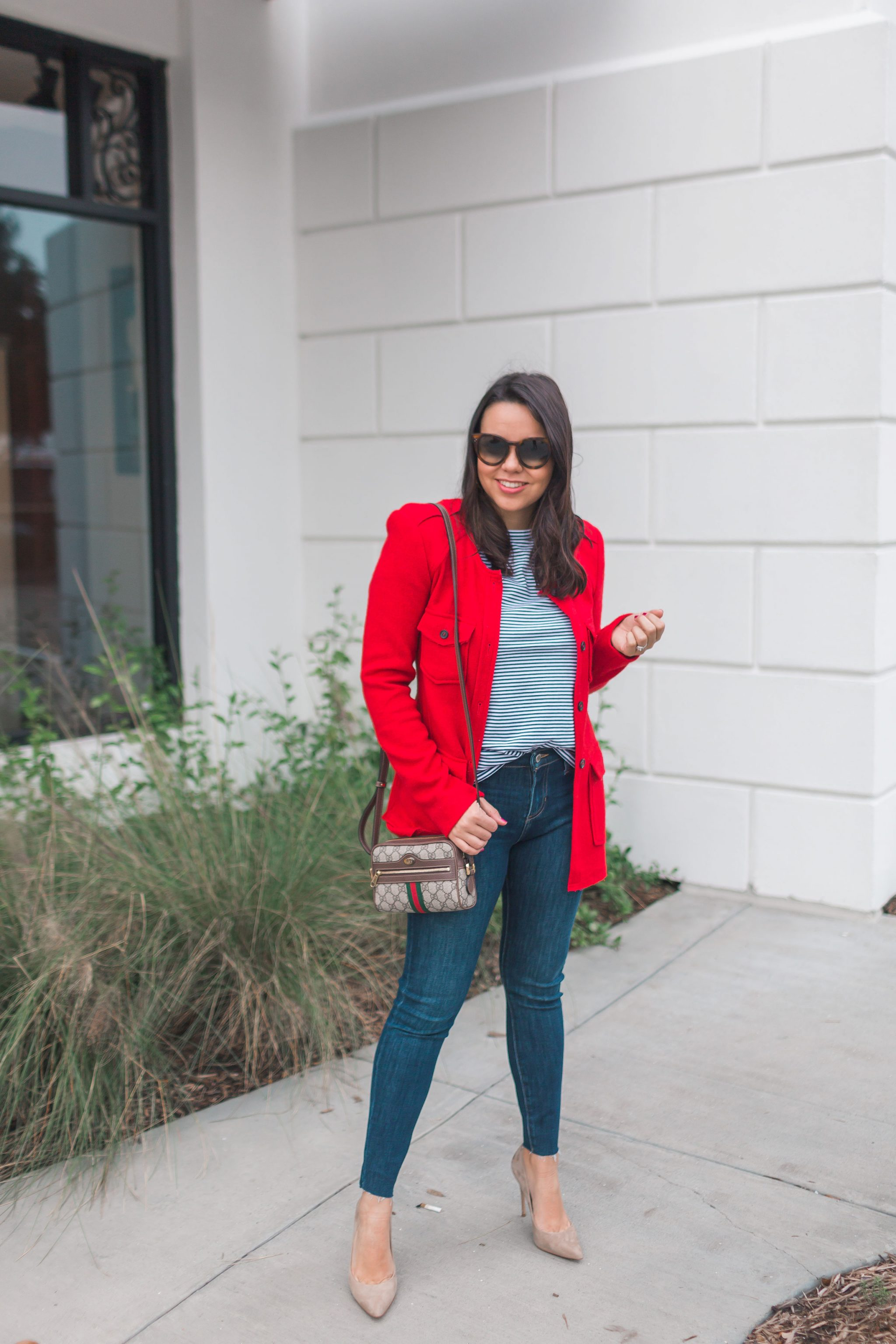 Blazer, denim and suede pumps outfit ideas | Adored by Alex