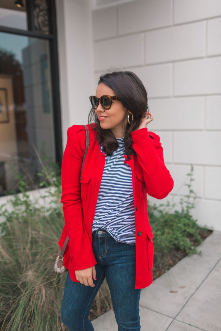 Classic red wool blazer and striped tee