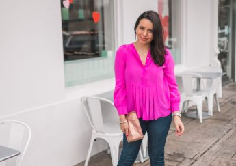 hot pink pleated blouse