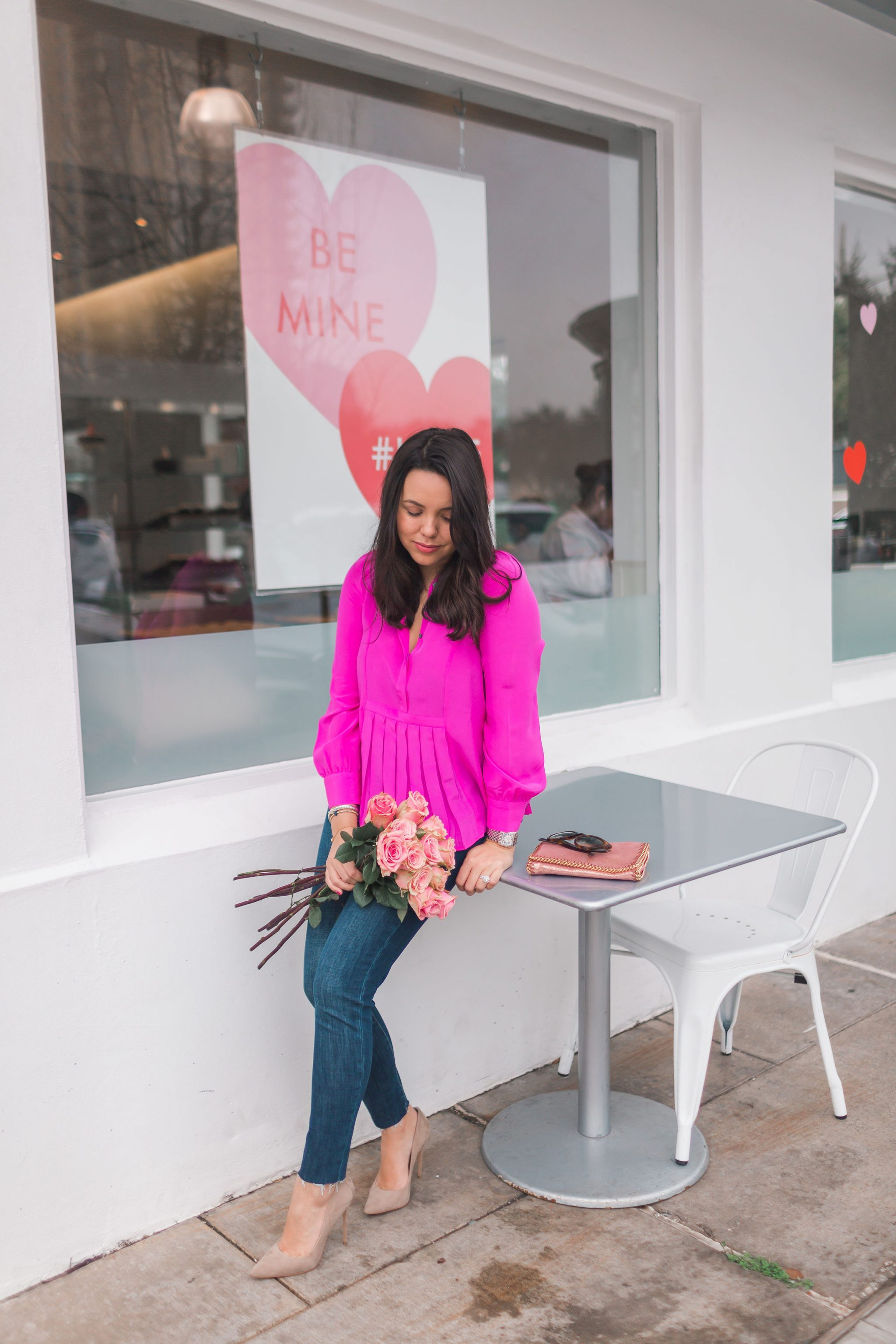 Hot pink silk blouse for spring | Adored by Alex
