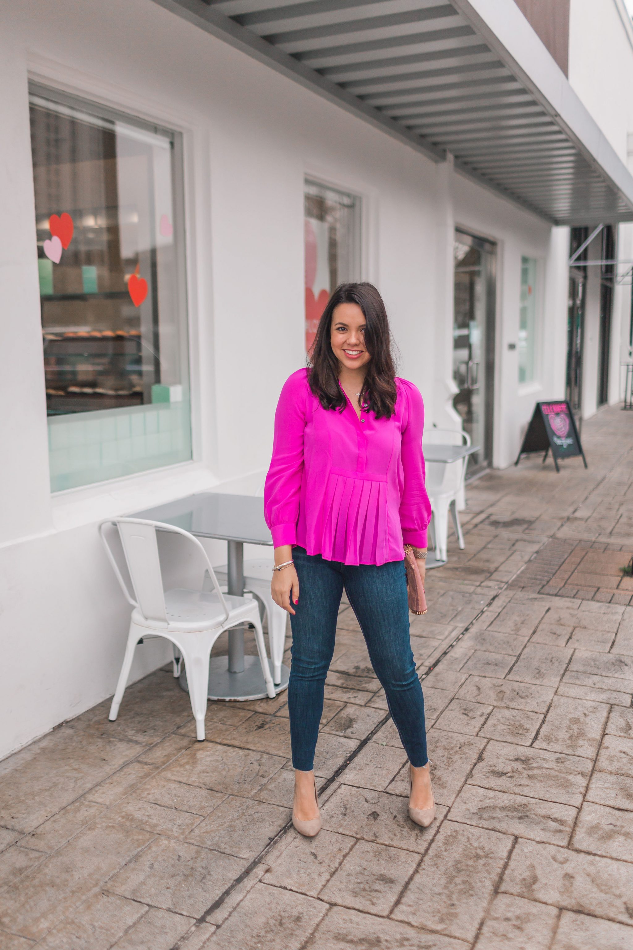 pleated hot pink silk blouse, suede pointed toe pumps