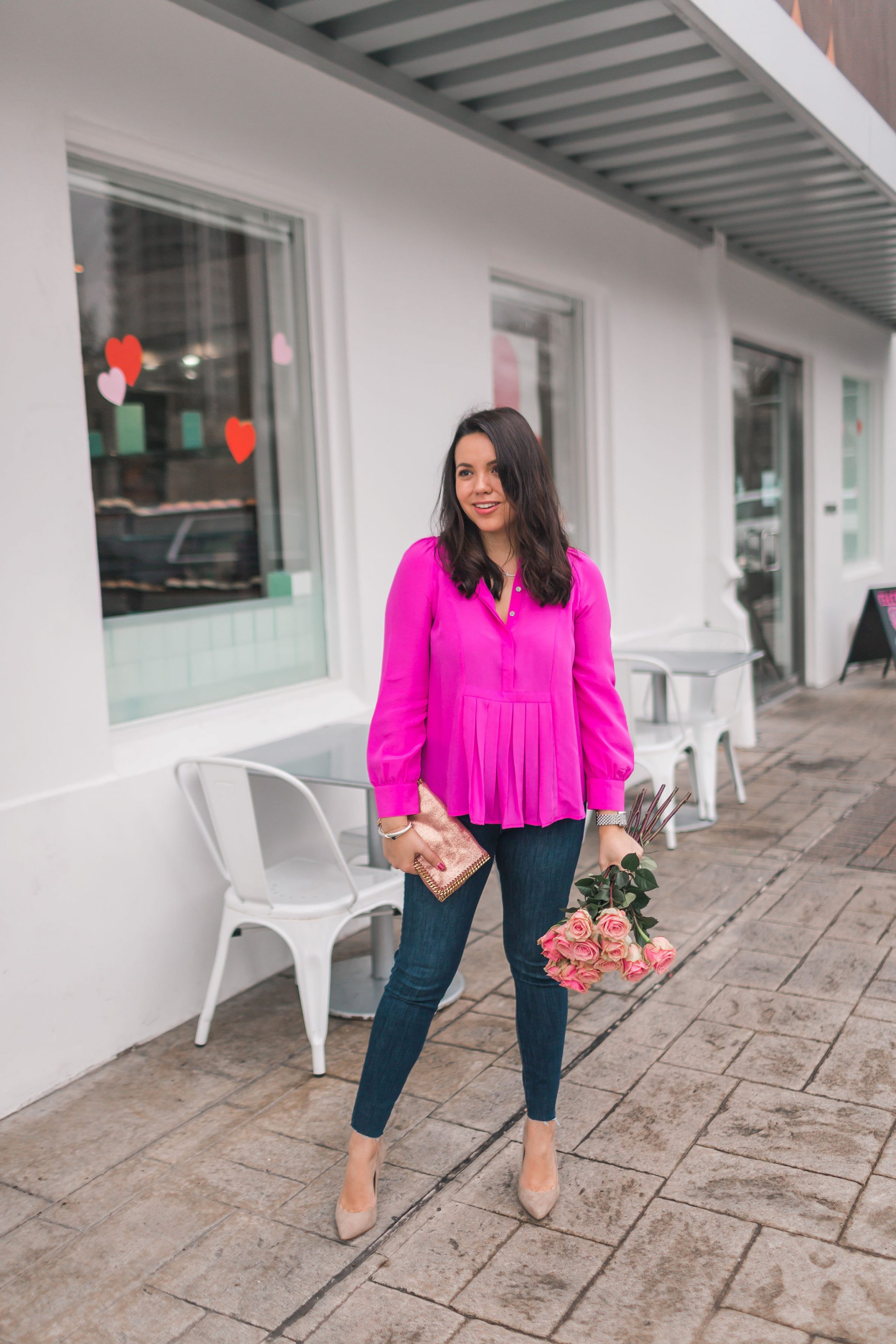 Hot pink silk pleated blouse and denim for date night | Adored by Alex