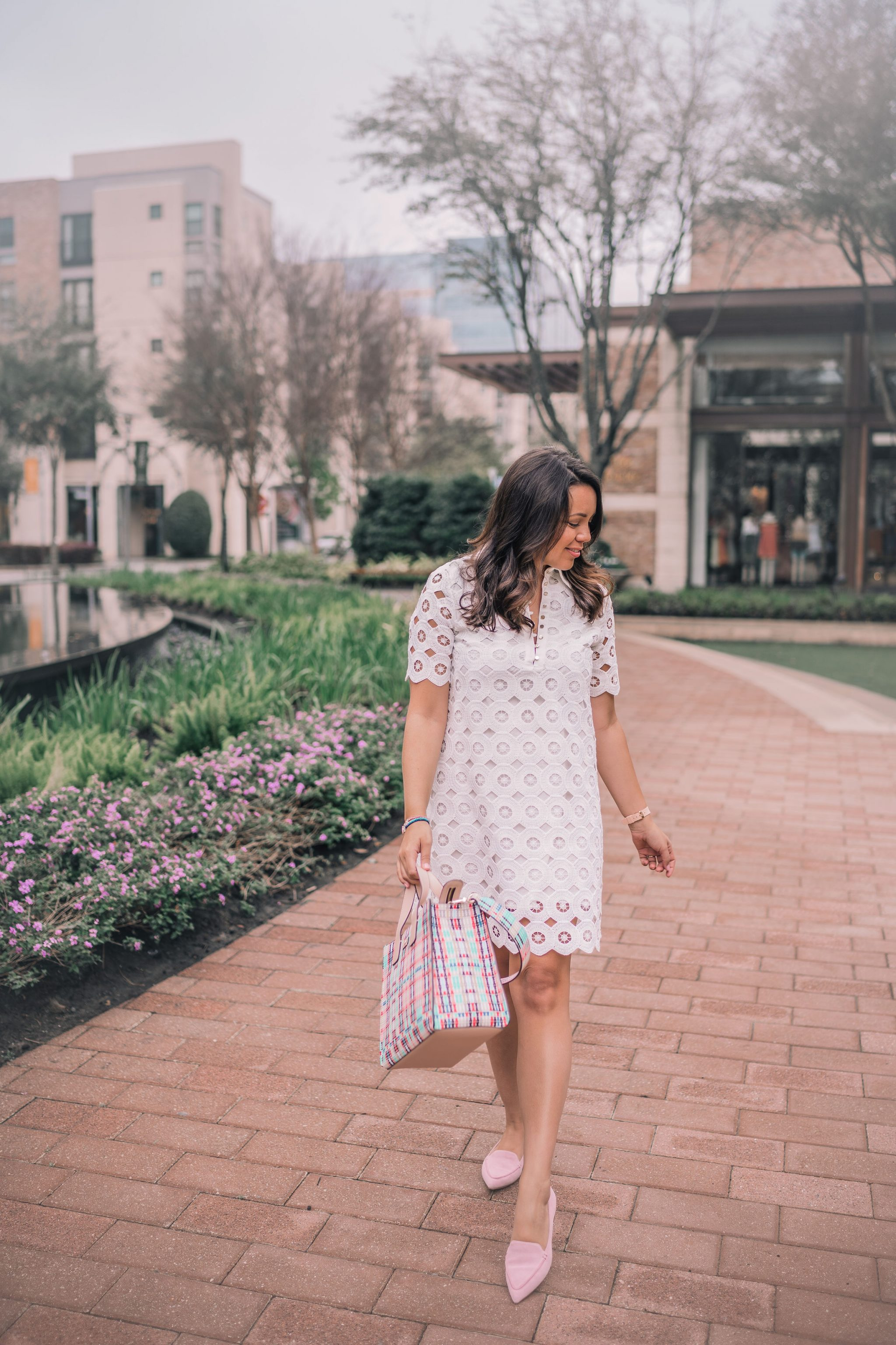 white eyelet Easter dress for spring