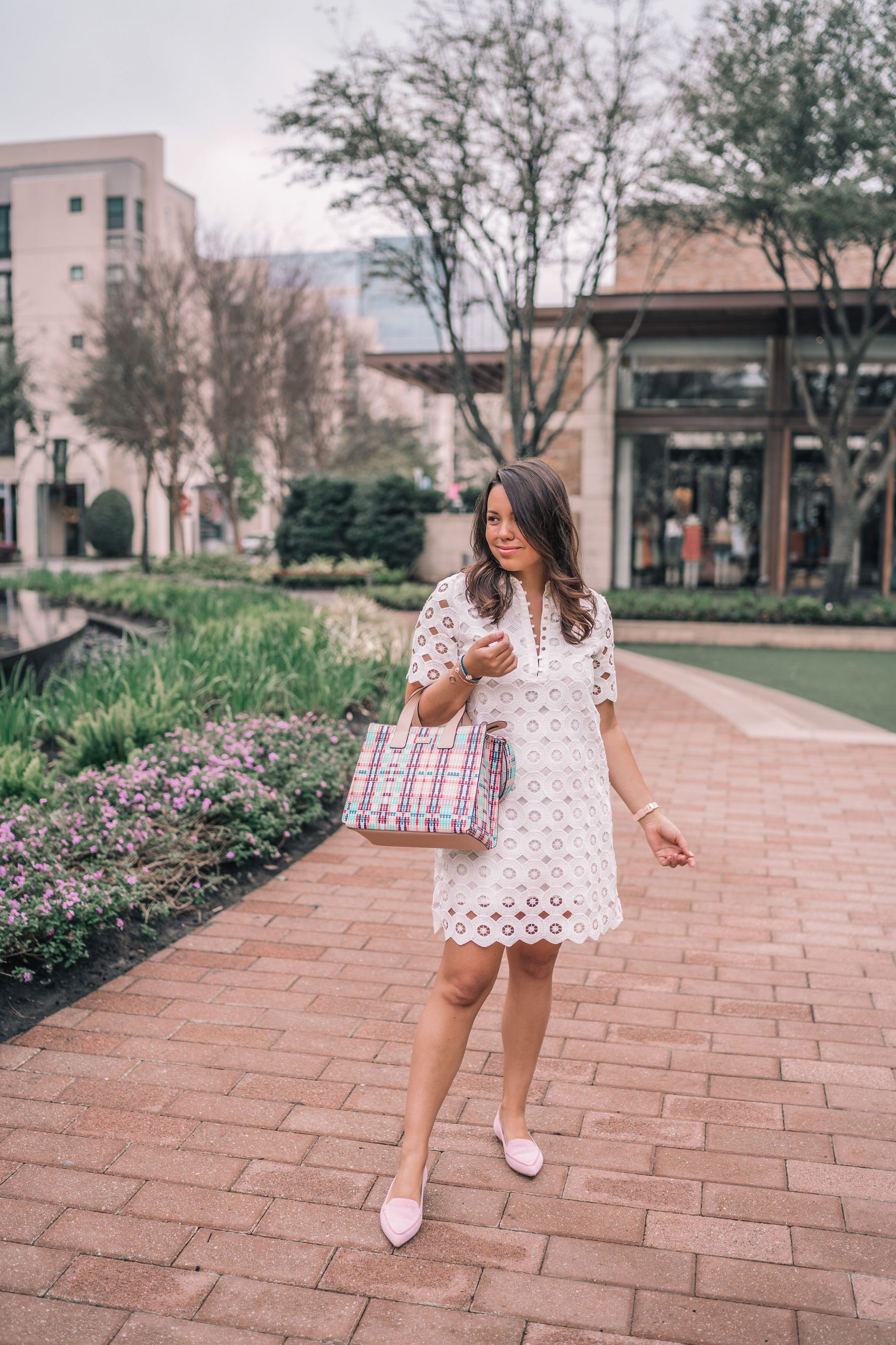 collared eyelet dress for spring | Adored by Alex