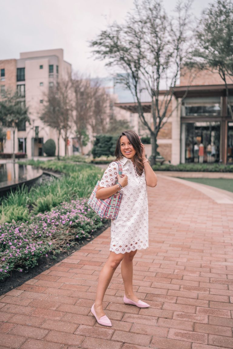 white eyelet dress and blush suede flats