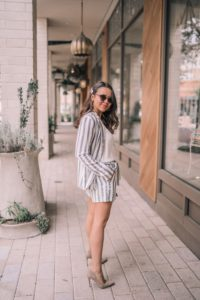 Striped blazer and shorts set, neutral suede pumps | Adored by Alex