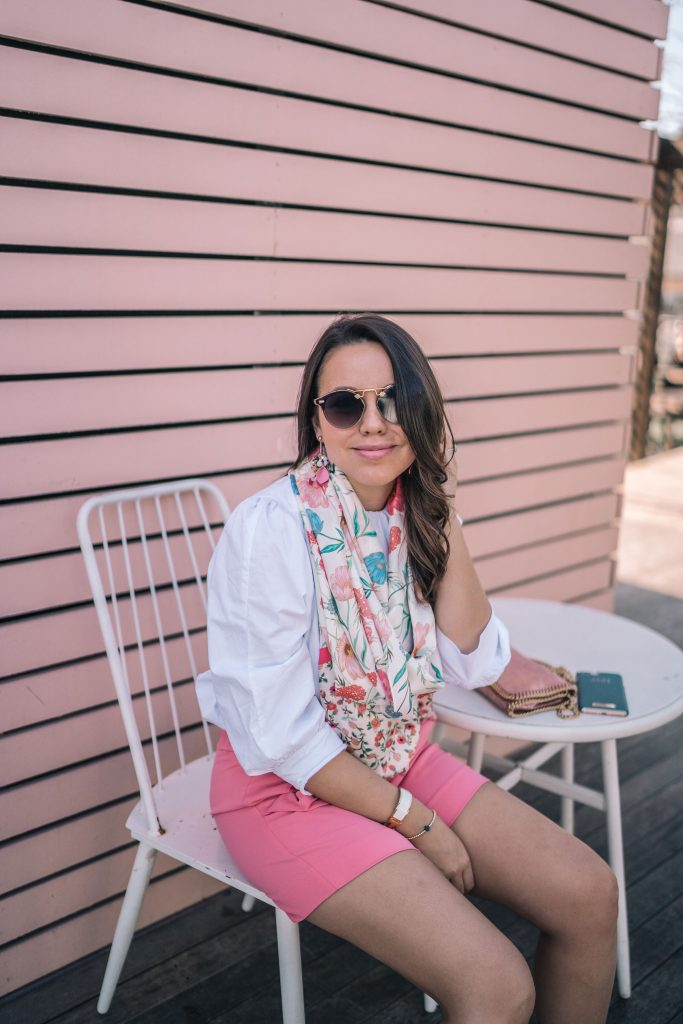 Krewe sunglasses, Kate Spade floral scarf