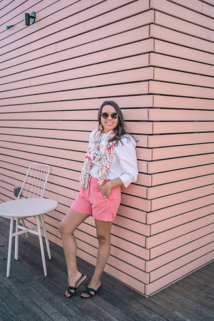 draped pink crepe shorts for spring and summer | Adored by Alex