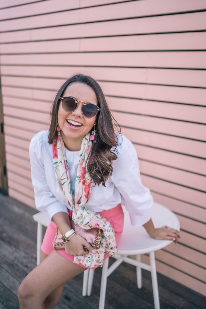 Kate Spade floral scarf and pink crepe shorts