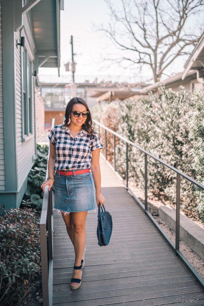 gingham popover blouse, denim skirt
