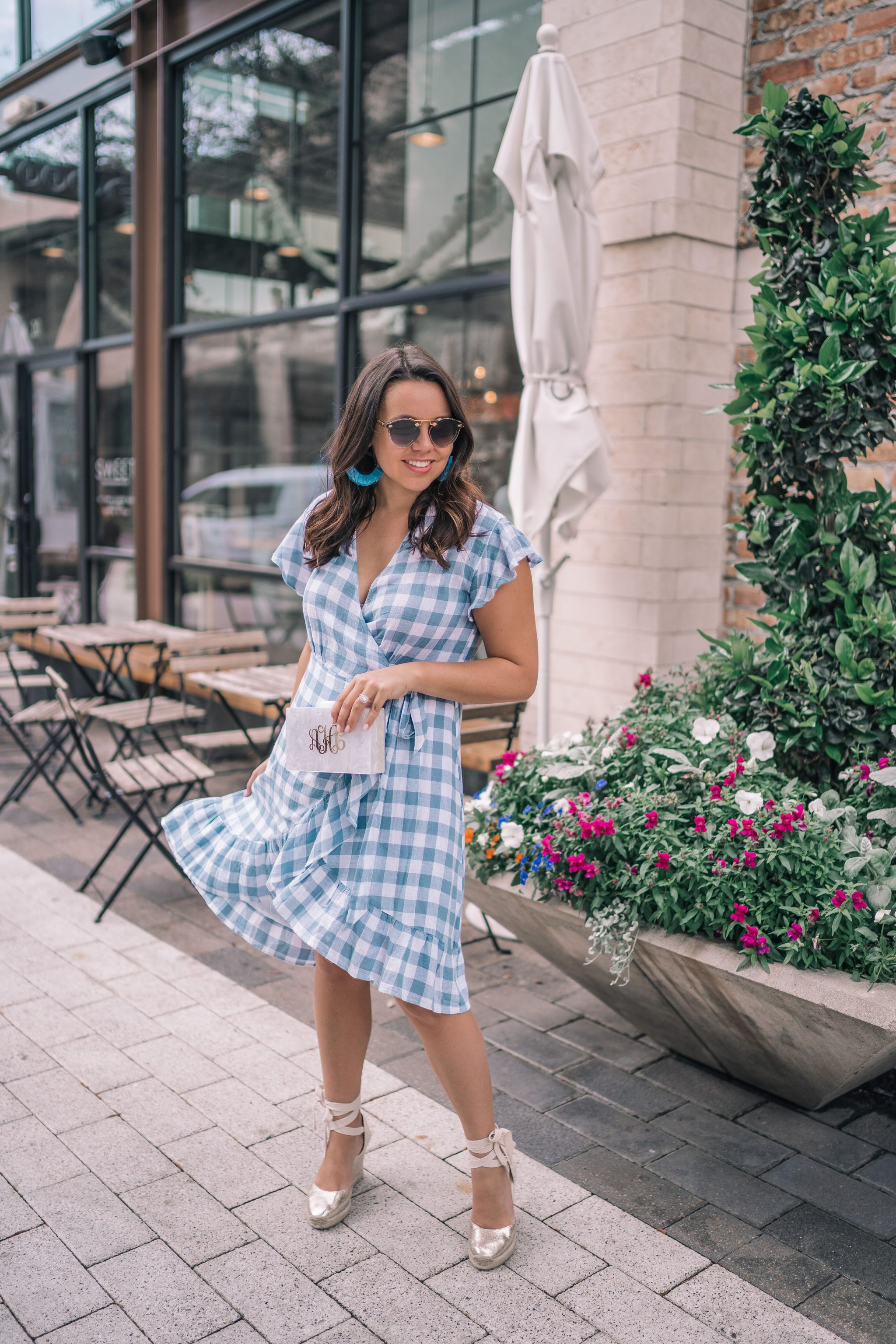 Feminine blue gingham print wrap dress for spring | adored by alex