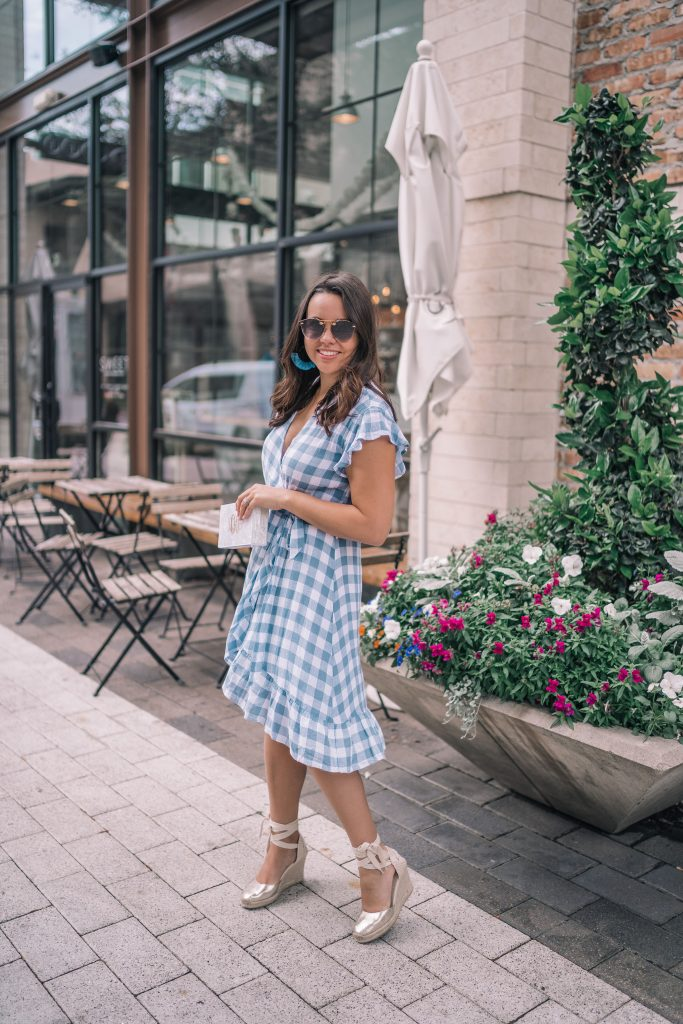 Spring gingham wrap dress | Adored by Alex