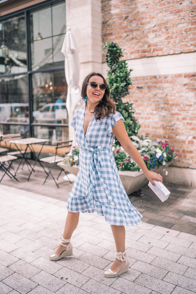 Feminine blue gingham wrap dress for Easter | Adored by Alex