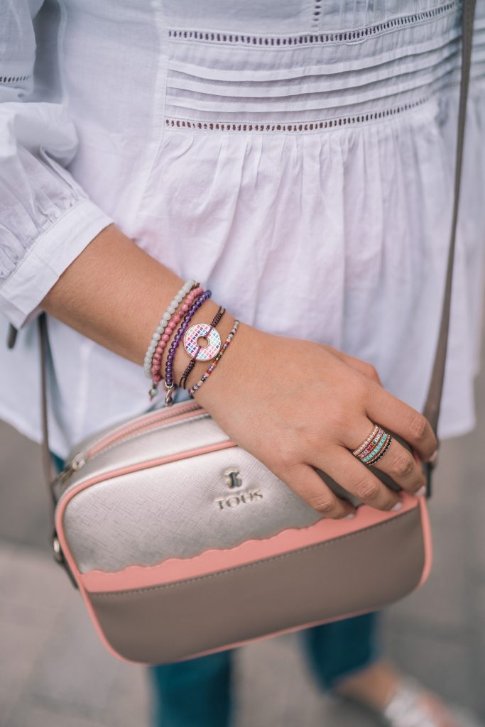 Tous colorblock handbag and jewelry | Adored by Alex