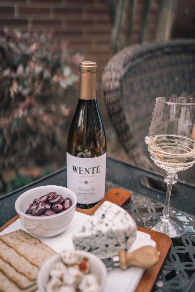 The perfect pairing, cheese board and Wente Wine Chardonnay