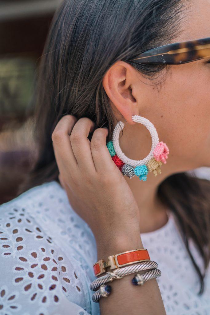 Sachin & Babi beaded hoop earrings, Hermes bracelet