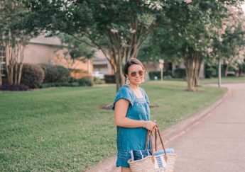 Pool day outfit ideas, woven basket tote