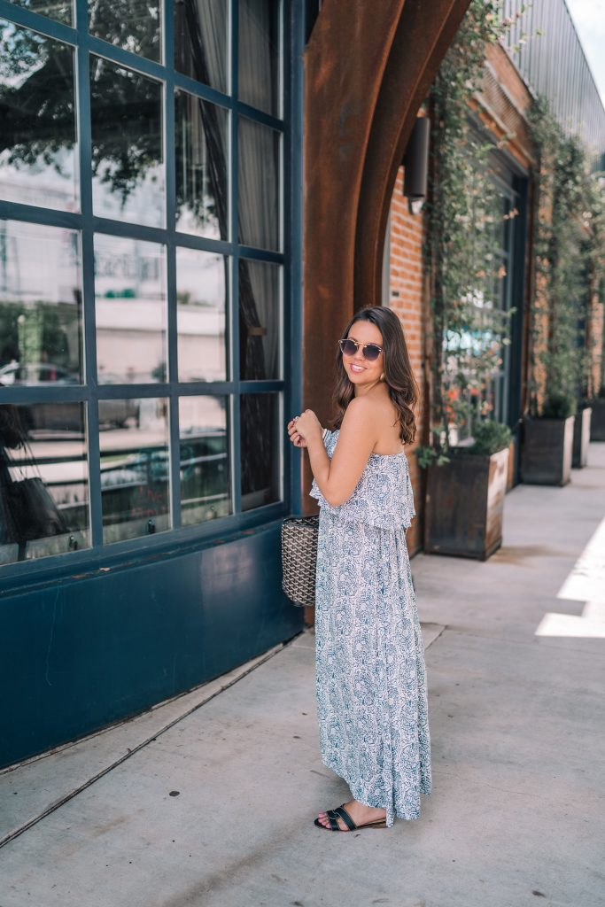 Paisley Printed strapless maxi dress for summer