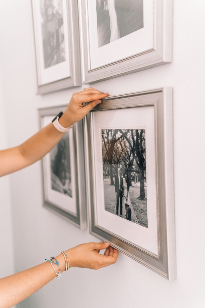 Silver matted gallery wall frames