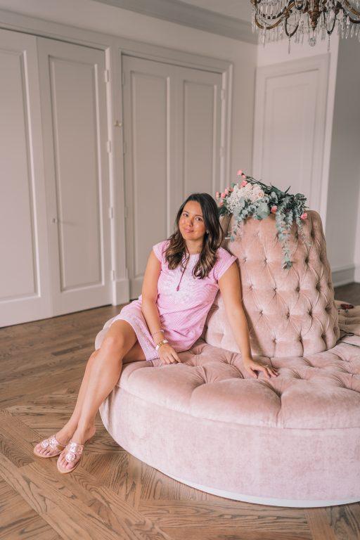 Pink velvet settee, Creative Chateau Houston, Texas