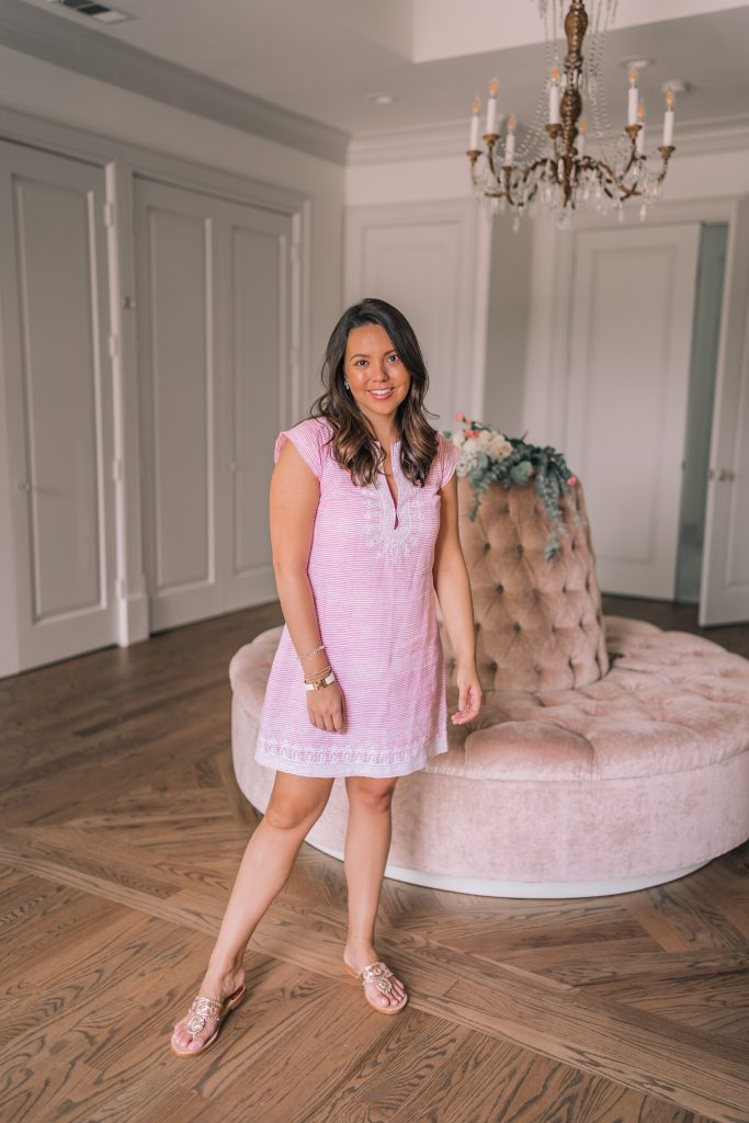 Toss Designs pink embroidered tunic dress