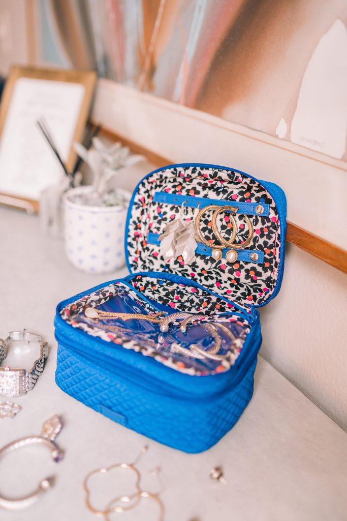Vera Bradley jewelry train case for travel