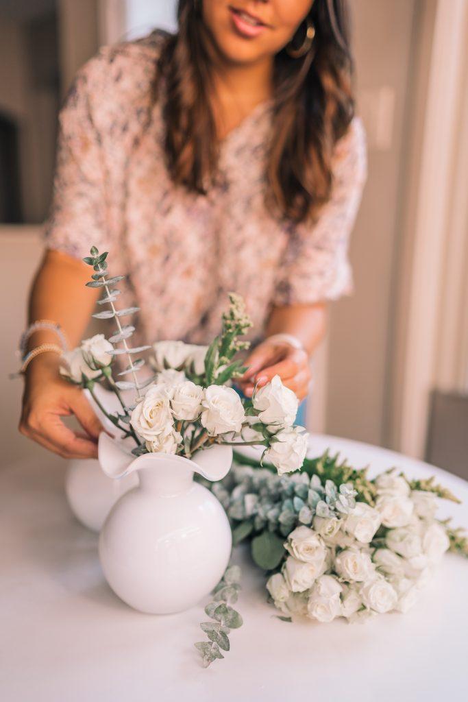 Vietri mouth-blown white flower vase