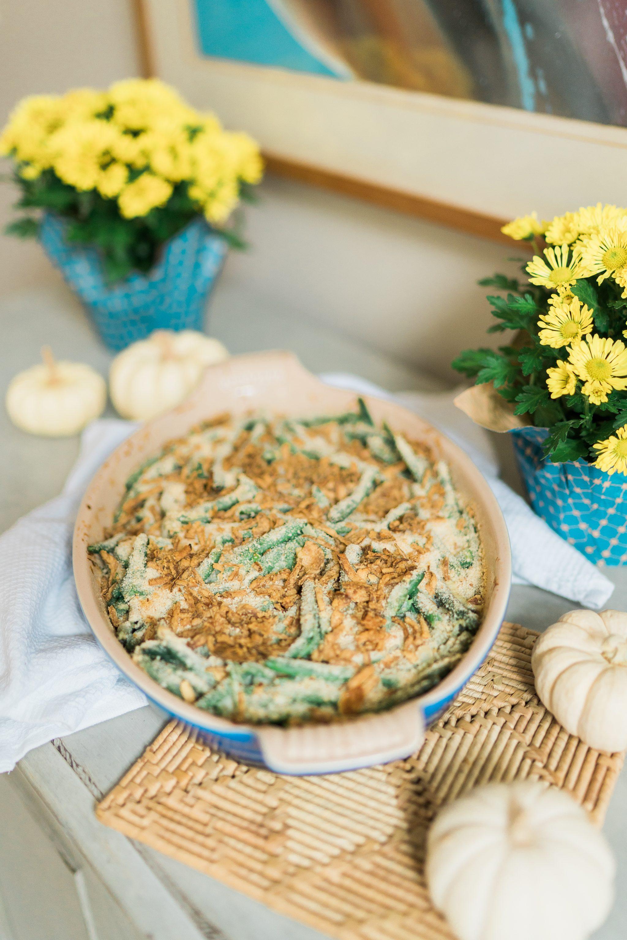 Homemade green bean casserole Friendsgiving side dishes