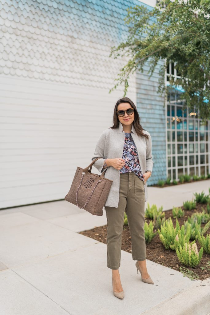 Olive cropped pants and floral top outfit pairing
