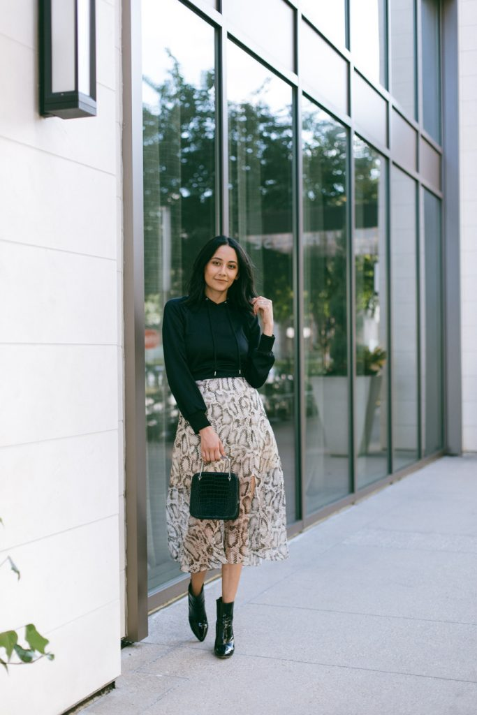 snakeskin printed midi skirt