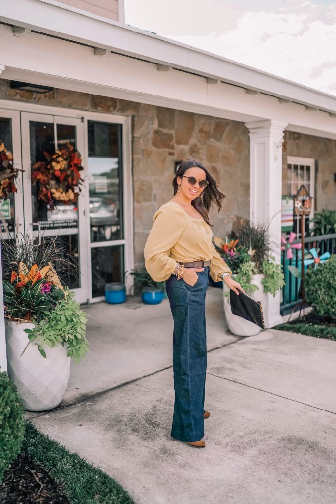 How to style wide-leg denim trousers