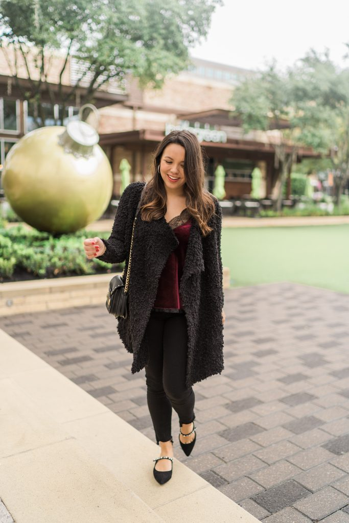 Casual holiday outfit idea, fuzzy sweater and velvet camisole