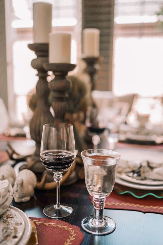 Traditional wine and water glasses for tablescape