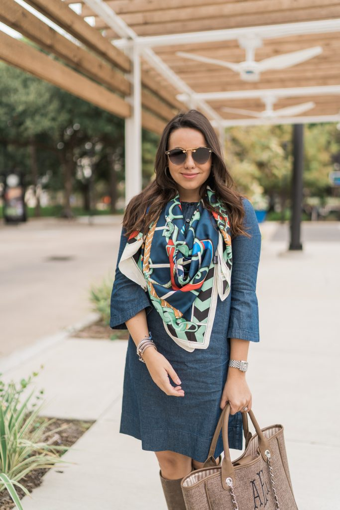 Printed horse bit scarf and denim dress