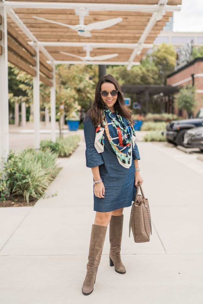 Printed scarf and Draper James chambray denim shift dress